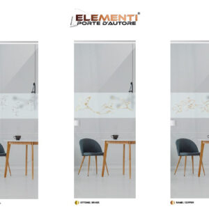Porta Scorrevole in vetro stratificato satinato 5+5 con inserto Elementi