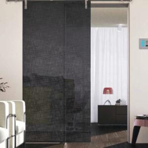 Porta Scorrevole in vetro stratificato 5+5 con inserto Lino Nero