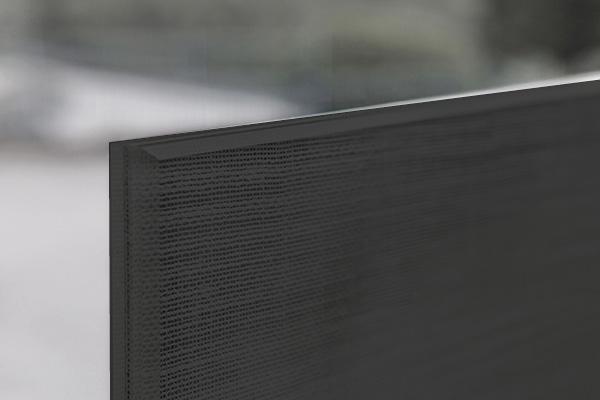 Porta Scorrevole in vetro stratificato 5+5 con inserto Lino Nero particolare