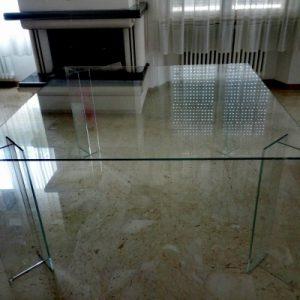 tavolo in vetro extrachiaro temperato 150cm x 150 cm